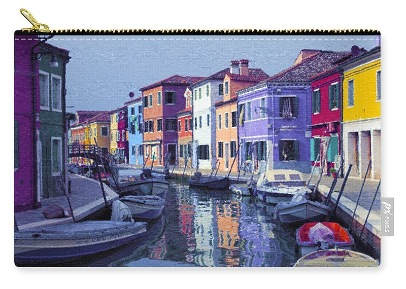 Burano Carry-all Pouch featuring the mixed media Island Lagoon by Georgiana Romanovna
