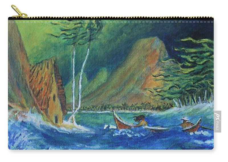 Island Carry-all Pouch featuring the painting Island Storm by William Bezik