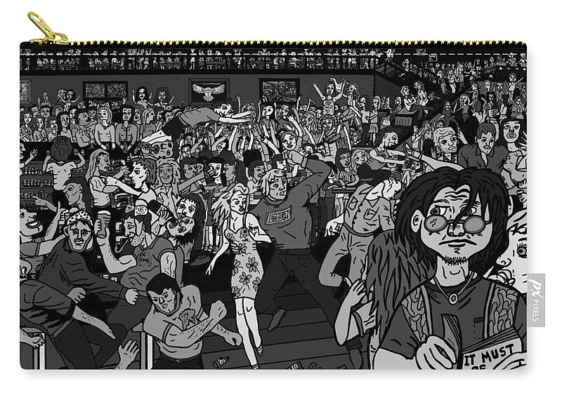 Karen Elzinga Art Carry-all Pouch featuring the drawing It Must Be Friday Night by Karen Elzinga