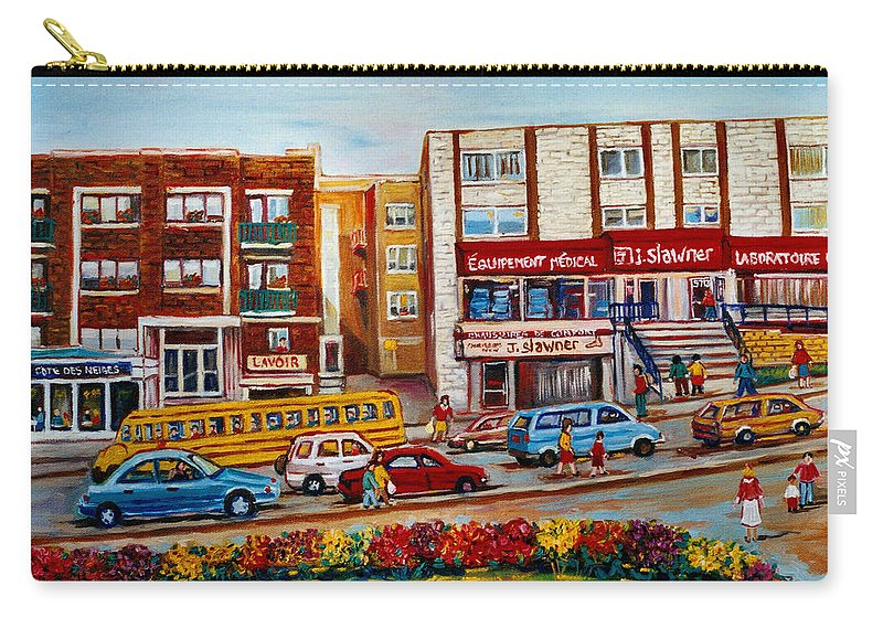Montreal Carry-all Pouch featuring the painting J Slawner Ltd Cote Des Neiges by Carole Spandau