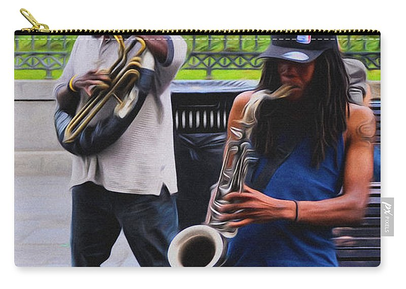 Jackson Square Jazz Carry-all Pouch featuring the photograph Jackson Square Jazz by Bill Cannon