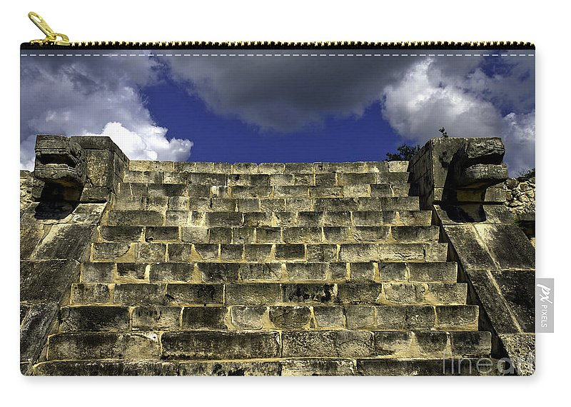 Chichen Itza Carry-all Pouch featuring the photograph Jaguar Stairway Two by Ken Frischkorn