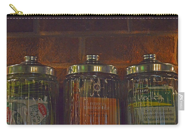 Tea Carry-all Pouch featuring the photograph Jars Of Assorted Teas by Sandi OReilly