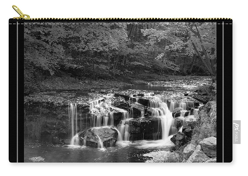 Waterfall Carry-all Pouch featuring the photograph Java Falls Monochrome by Darleen Stry