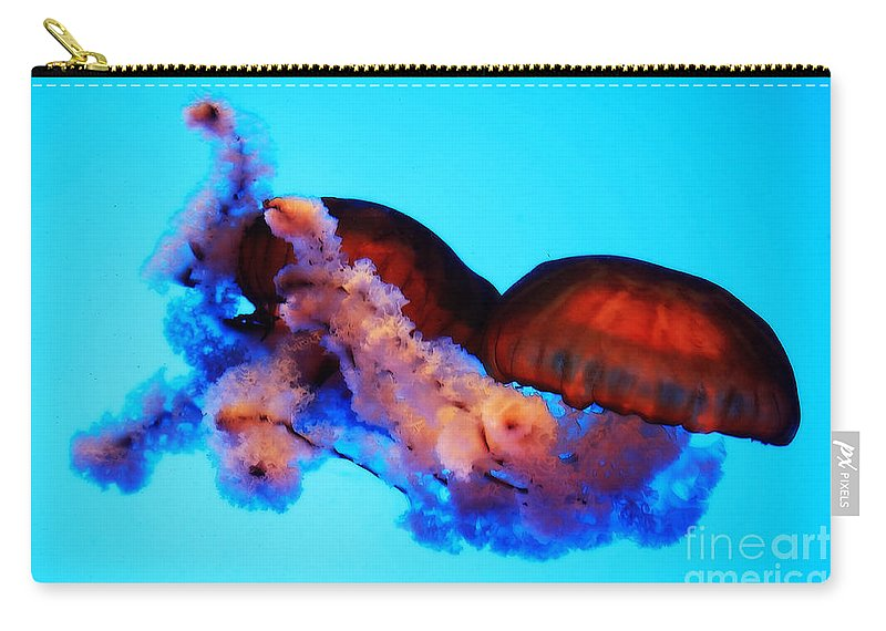 Jellyfish Carry-all Pouch featuring the photograph Jellyfish Drama - Digital Art by Carol Groenen