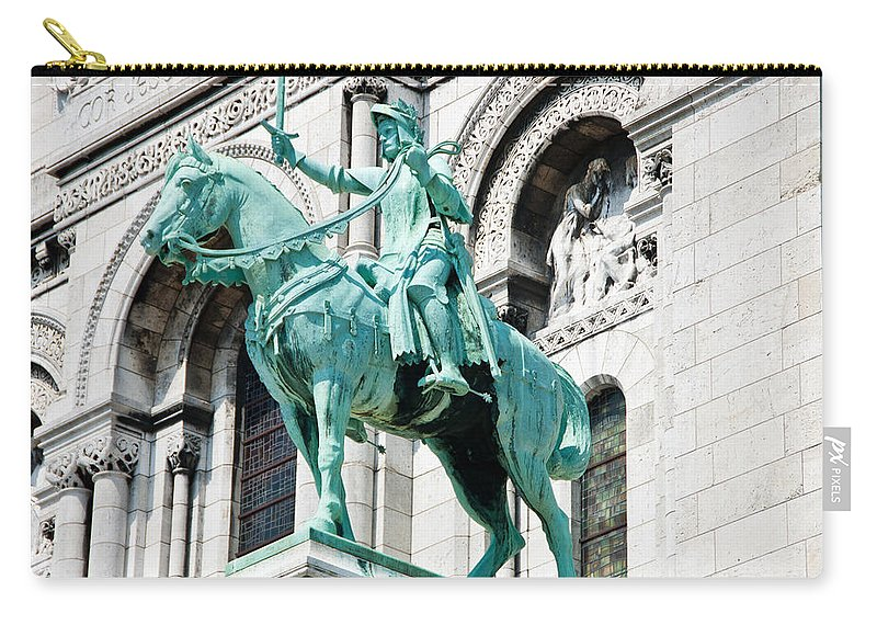 France Carry-all Pouch featuring the photograph Joan Of Arc At Sacre Coeur Basilica Paris France by Jon Berghoff