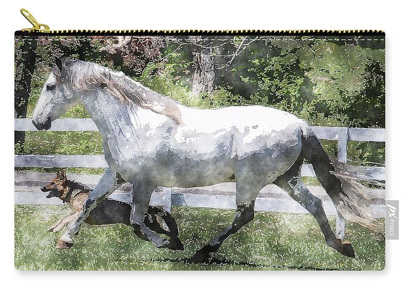 Horse Carry-all Pouch featuring the photograph Jogging Buddies by Vicki Podesta
