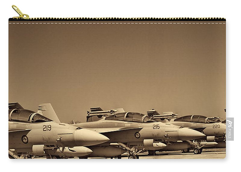 Boeing F/a-18e/f Super Hornets Carry-all Pouch featuring the photograph Joint Operations Squadron by Douglas Barnard