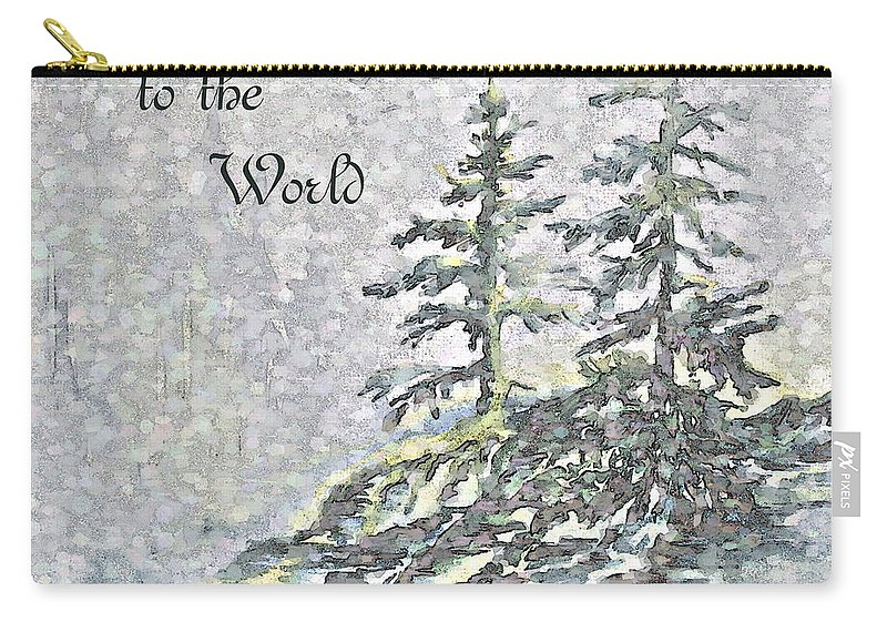 Christmas Trees Carry-all Pouch featuring the digital art Joy to the World by Jo Smoley