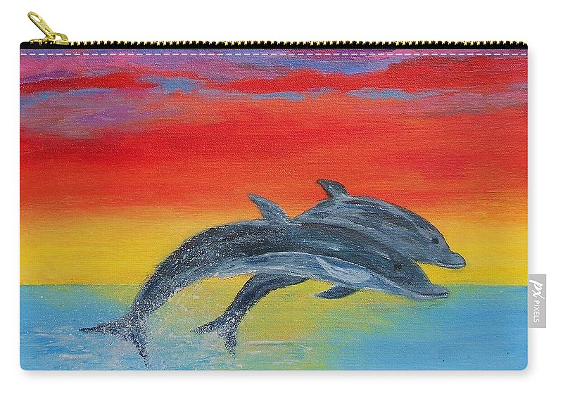 Sunset Carry-all Pouch featuring the painting Jumping Dolphins Right by Jamie Frier