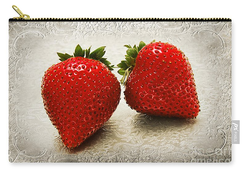 Strawberries Carry-all Pouch featuring the photograph Just 2 Classic Berries by Andee Design