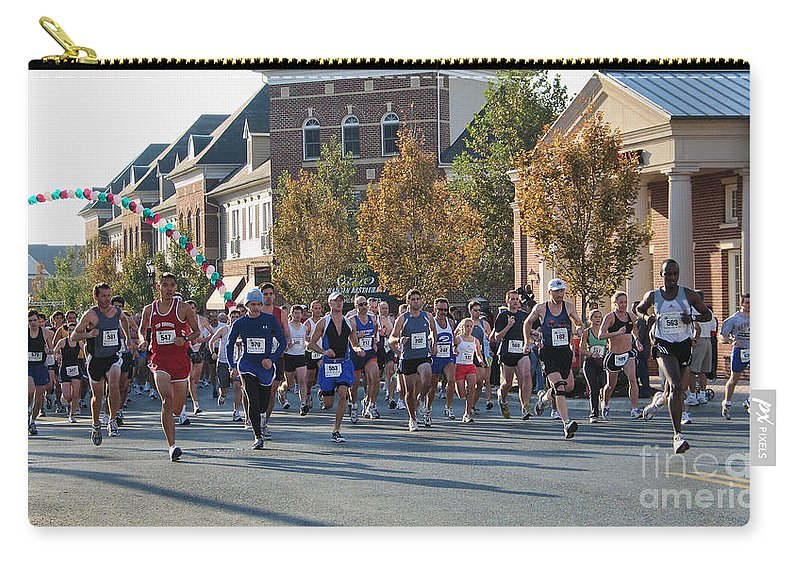 Race Carry-all Pouch featuring the photograph Just After The Gun At A Running Race On A Town Street by William Kuta