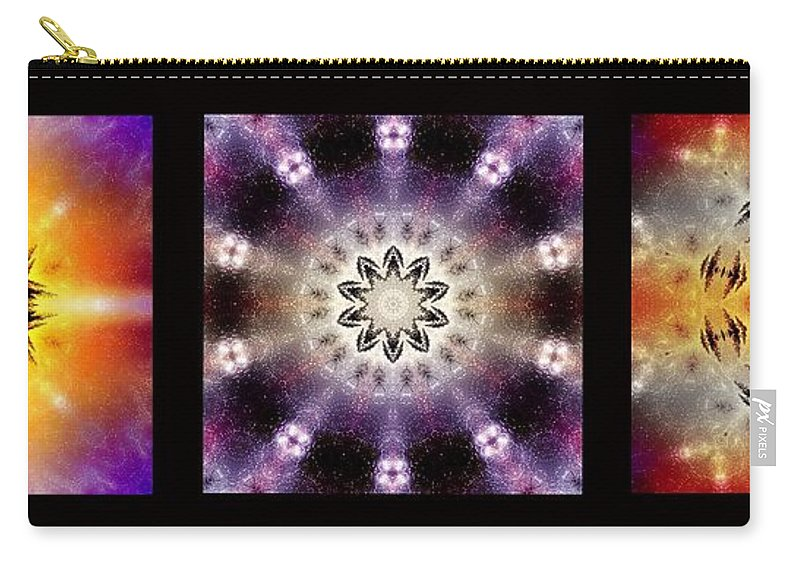 Kaleidoscope Carry-all Pouch featuring the photograph Kaleidoscope - Triptych by Ellen Heaverlo