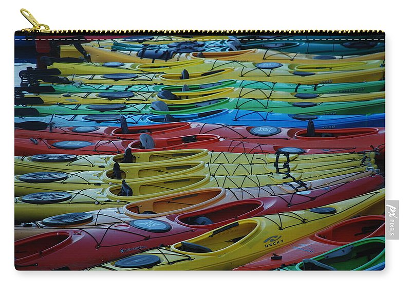 Kayak Carry-all Pouch featuring the photograph Kayak Row by Richard Bryce and Family