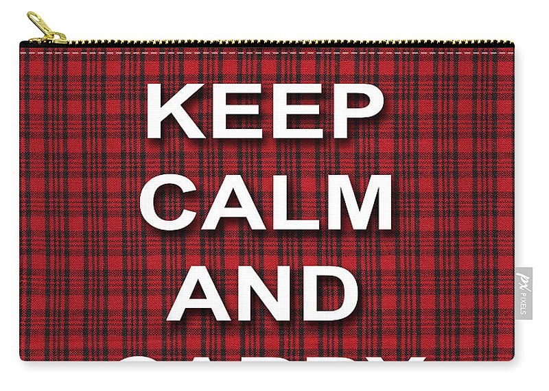 Keep Calm And Carry On Carry-all Pouch featuring the photograph Keep Calm And Carry On Poster Print Red Black Stripes Background by Keith Webber Jr