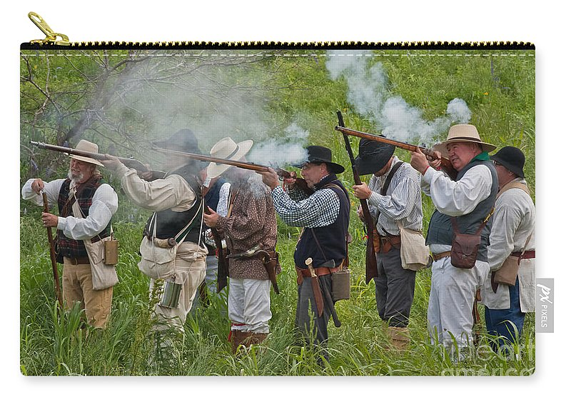 Reenactors Carry-all Pouch featuring the mixed media Kentucky Mustangs by Kim Henderson