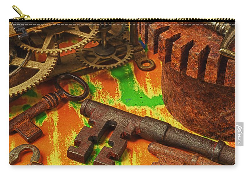 Old Carry-all Pouch featuring the photograph Keys Gears And Compass by Garry Gay