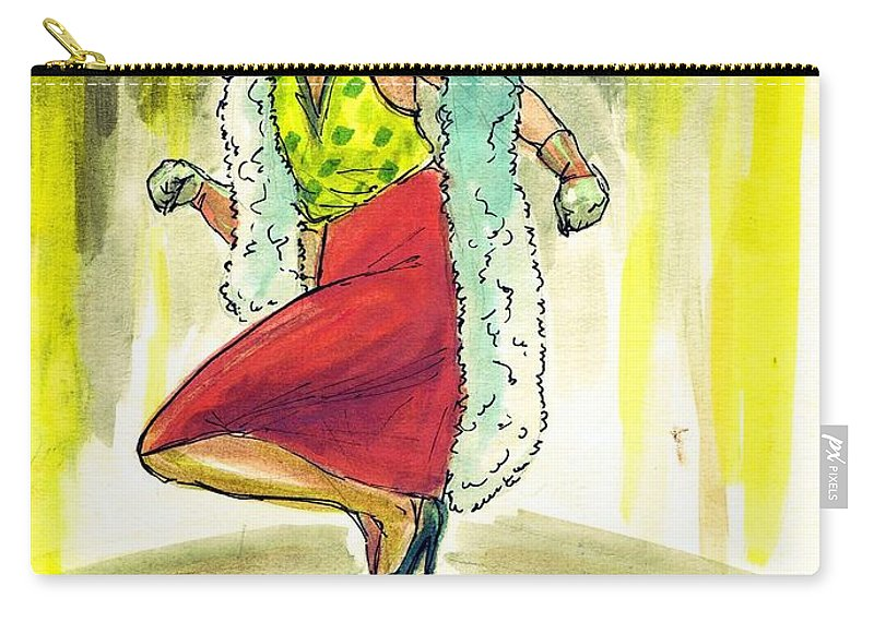Nostalgia Carry-all Pouch featuring the drawing Kiki by Mel Thompson