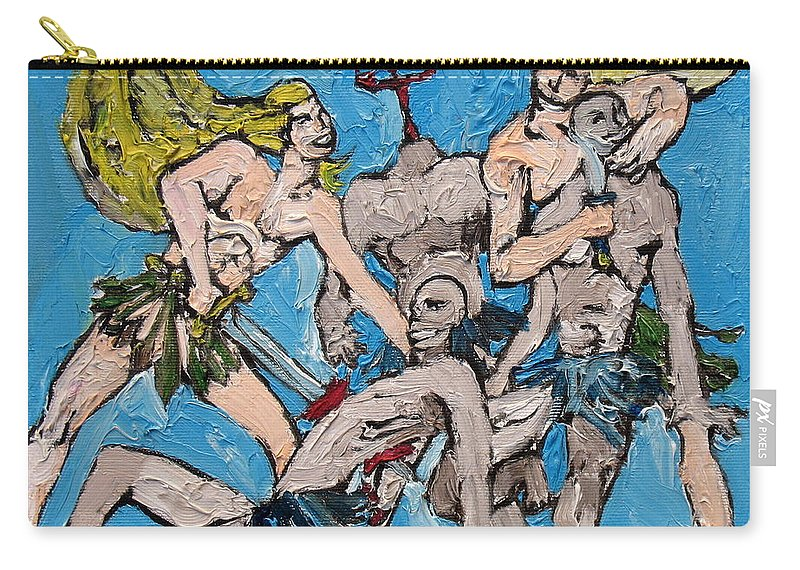 People Carry-all Pouch featuring the painting Killing-smiling-party by Fabrizio Cassetta