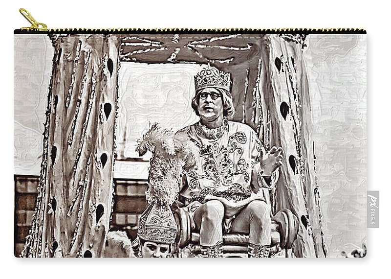 Painted Carry-all Pouch featuring the photograph King Of Rex - Painted Bw by Kathleen K Parker