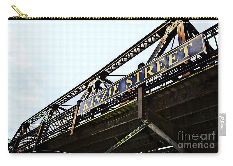 Railway Carry-all Pouch featuring the photograph Kinzie Street Stop - Chicago by Madeline Ellis