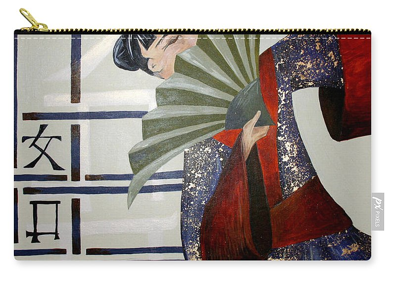 Japanese Carry-all Pouch featuring the painting Kisaragi by Kate Fortin