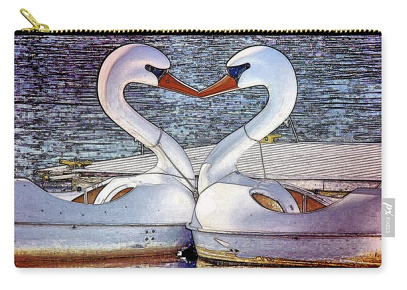 Swan Boats River Kissing Carry-all Pouch featuring the photograph Kissing Swans by Alice Gipson