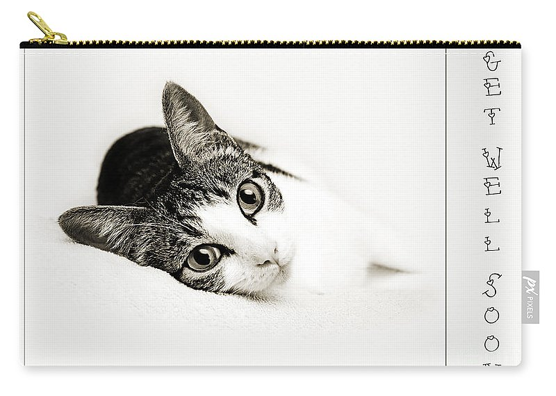 Fine Art Cat Carry-all Pouch featuring the photograph Kitty Cat Greeting Card Get Well Soon by Andee Design