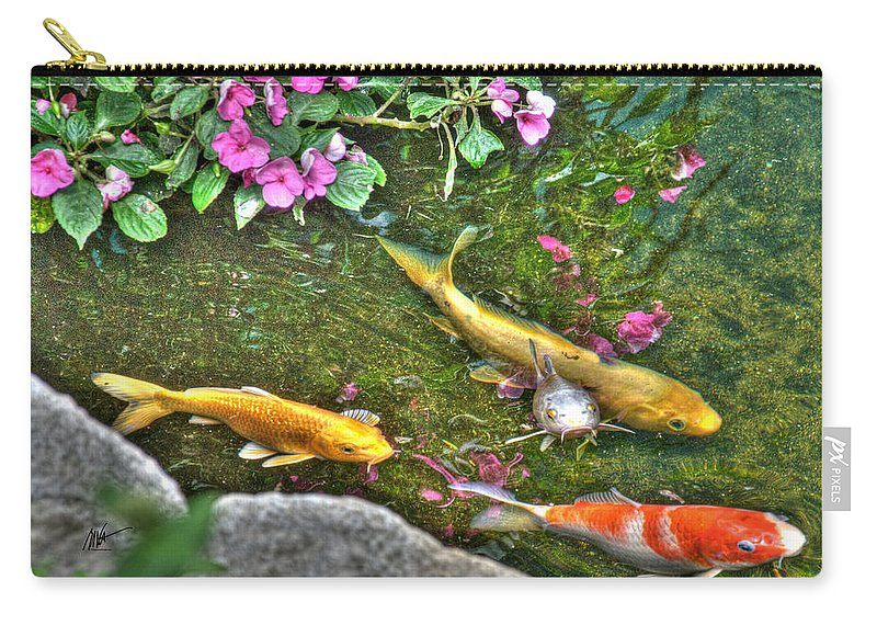 Koi Carry-all Pouch featuring the photograph Koi Fish Poses by Mark Valentine