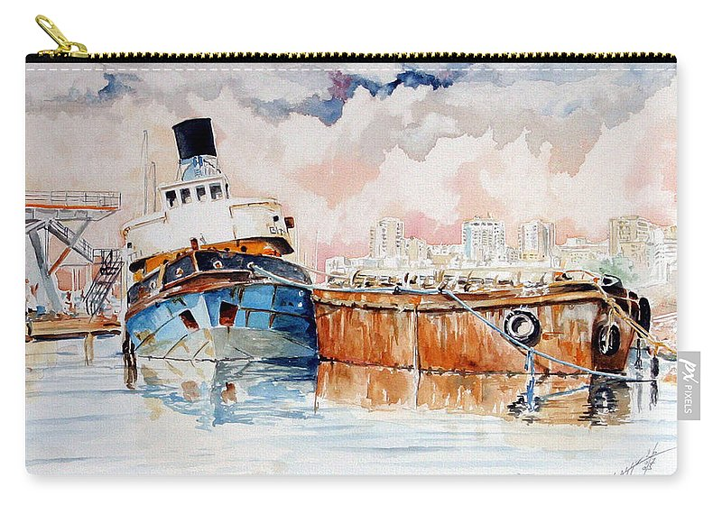 Ship Carry-all Pouch featuring the painting La Fine Oltre Il Canale by Giovanni Marco Sassu