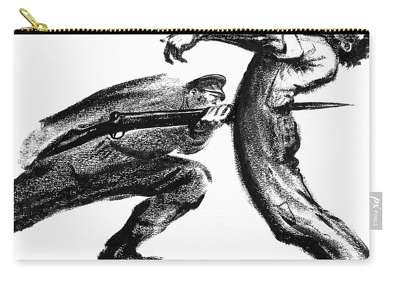 1916 Carry-all Pouch featuring the photograph Labor Cartoon, 1916 by Granger