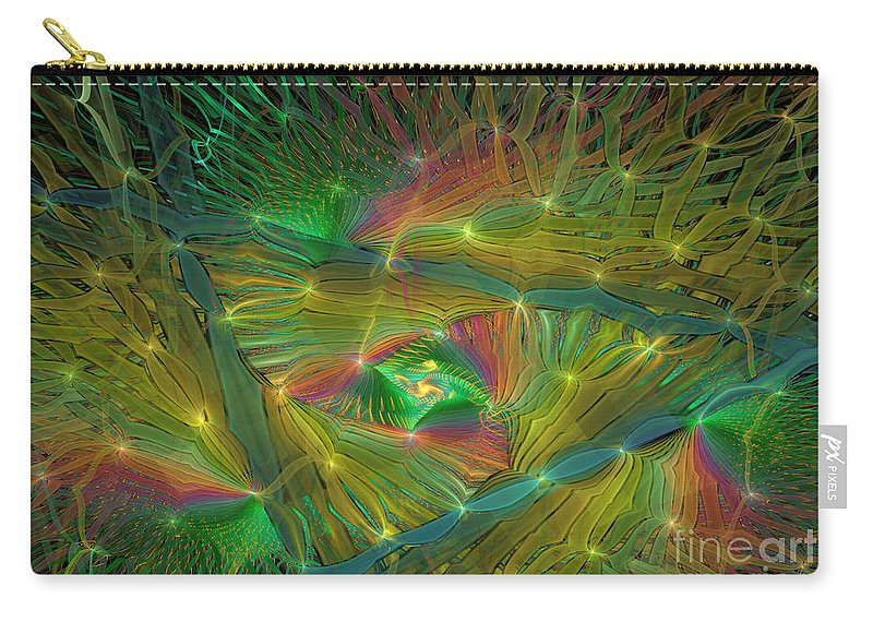 Rainbow Colors Carry-all Pouch featuring the digital art Lacy Rainbow Triangle by Deborah Benoit