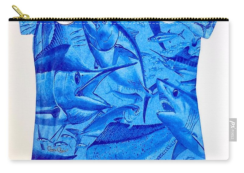 Carey Chen Carry-all Pouch featuring the painting Ladies Gamefish Collage Shirt by Carey Chen