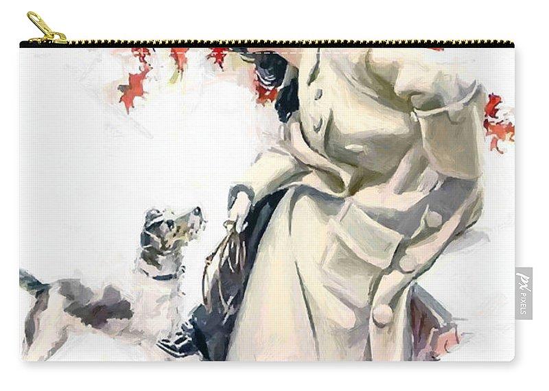Lady Woman Dog Leaves Leaf Tree Autumn Red Hat Portrait Expressionism Painting Vintage Carry-all Pouch featuring the painting Lady With Dog by Steve K