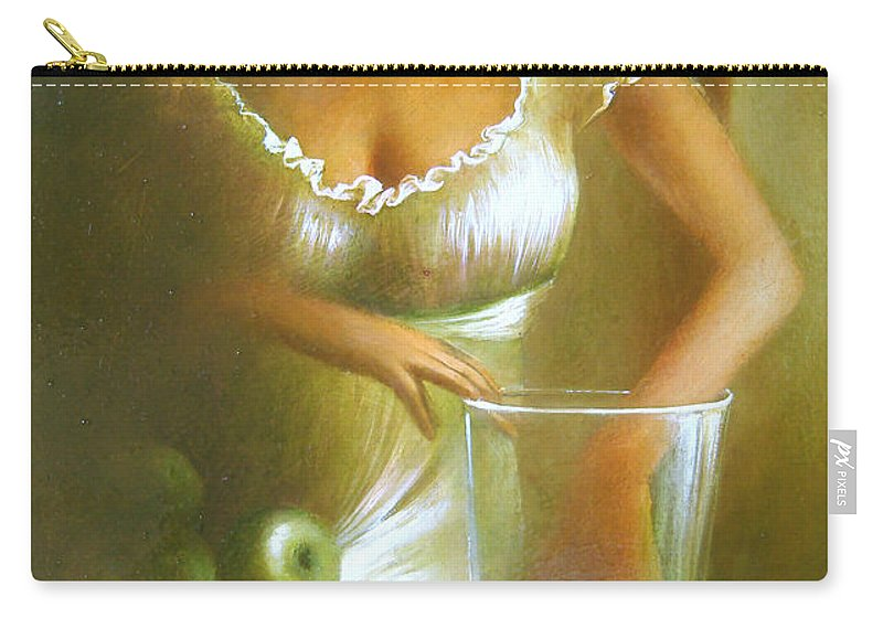Lady Carry-all Pouch featuring the painting Lady With Green Apples by Vali Irina Ciobanu