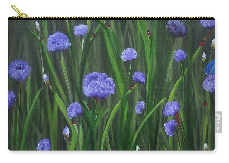 Garden Carry-all Pouch featuring the painting Ladybug Lunch by Carol Sweetwood