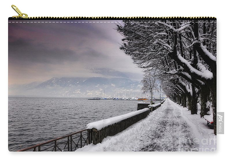 Street Carry-all Pouch featuring the photograph Lake Front In Winter by Mats Silvan