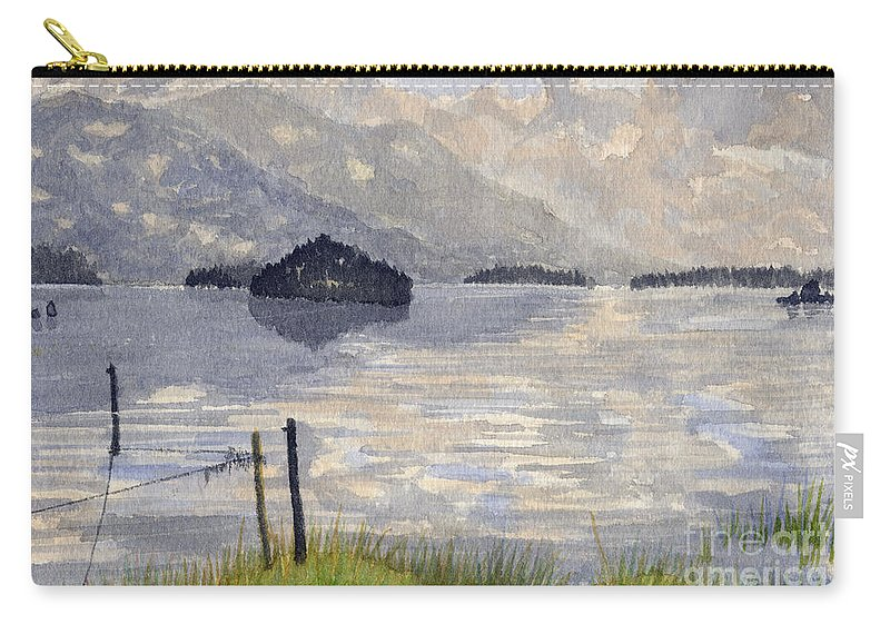 Lake Kilarney Carry-all Pouch featuring the painting Lake Kilarney Ring Of Kerry Watercolour Painting by Edward McNaught-Davis