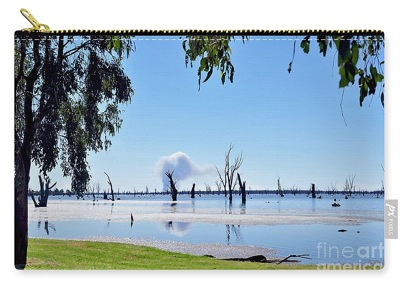 Photography Carry-all Pouch featuring the photograph Lake Of The Black Stumps.. Tree Framed by Kaye Menner