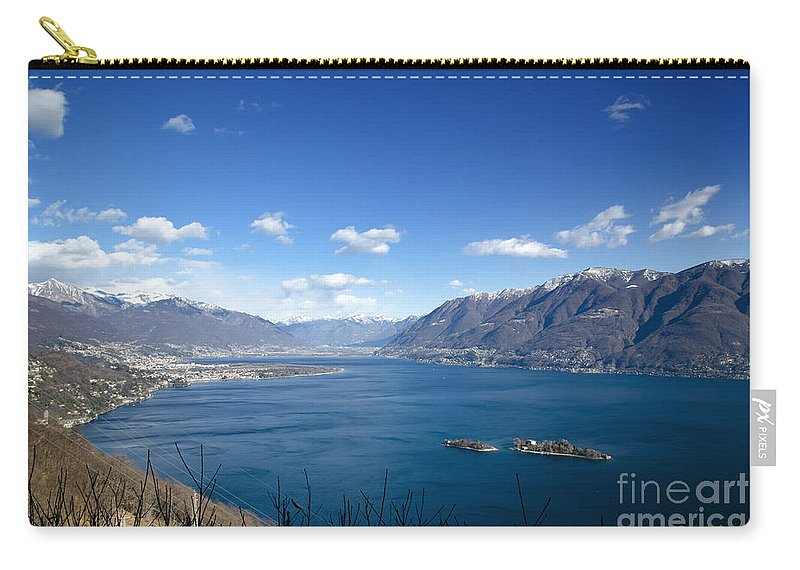 Island Carry-all Pouch featuring the photograph Lake With Islands And Snow-capped Mountain by Mats Silvan