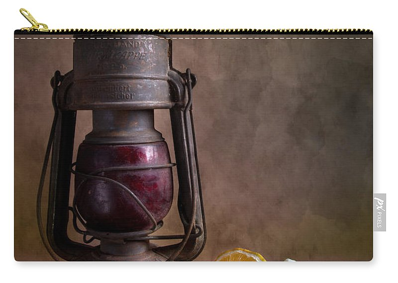 Still Carry-all Pouch featuring the photograph Lamp And Fruits by Nailia Schwarz
