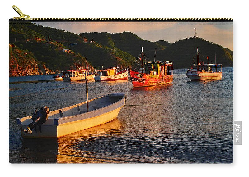 Lanchas Taganga Carry-all Pouch featuring the photograph Lanchas Taganga by Skip Hunt