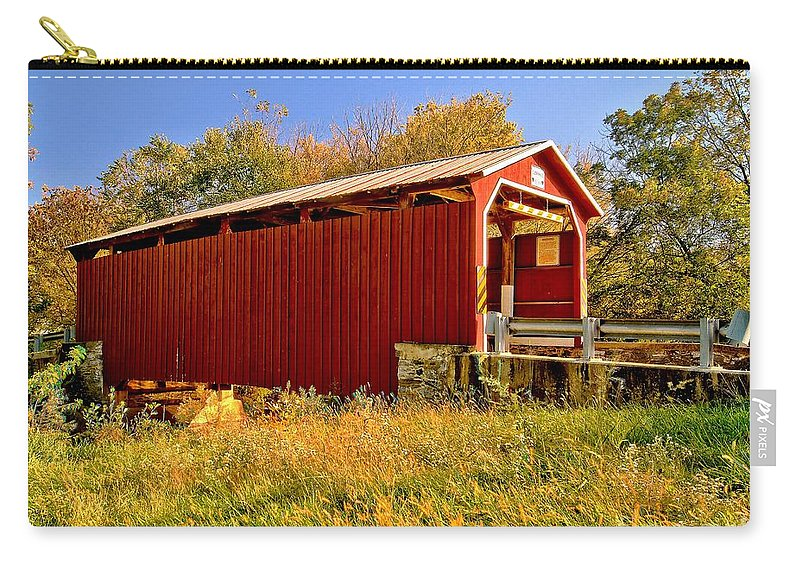 American Carry-all Pouch featuring the photograph Landis Mill Covered Bridge by Nick Zelinsky