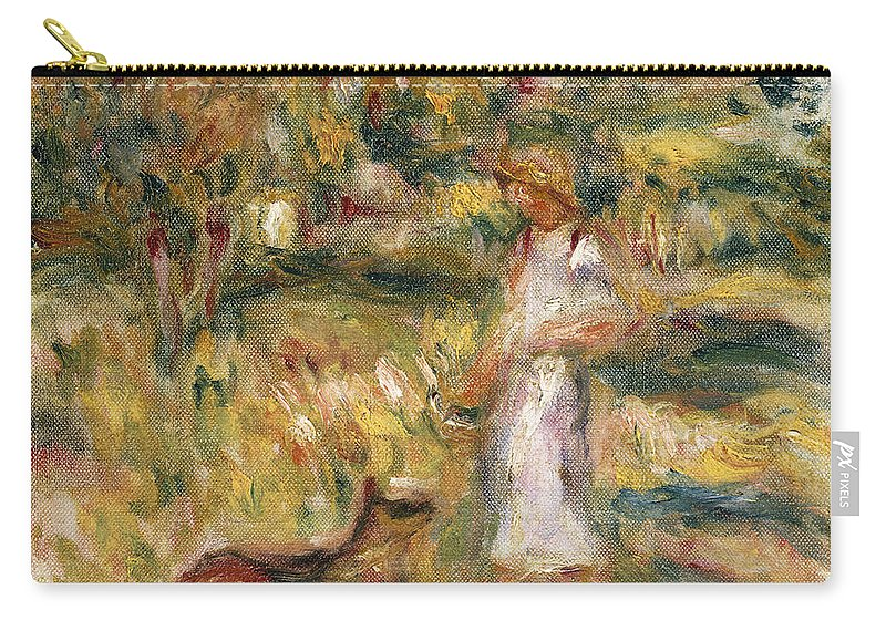 Pierre Auguste Renoir Carry-all Pouch featuring the painting Landscape With A Woman In Blue by Pierre Auguste Renoir