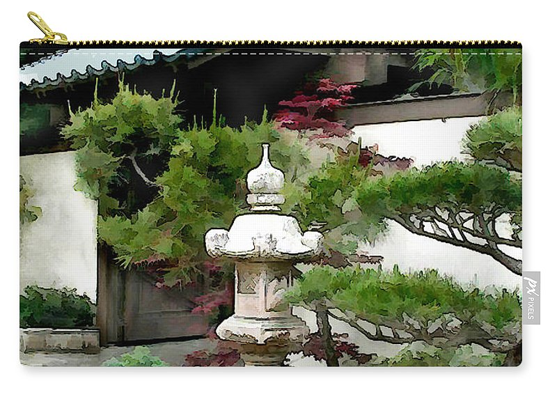Japanese Garden Carry-all Pouch featuring the painting Lantern Sentry At Garden Gate by Elaine Plesser