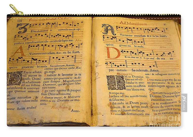 Mission San Diego De Alcala Carry-all Pouch featuring the photograph Latin Hymnal 1700 Ad by Bob Christopher