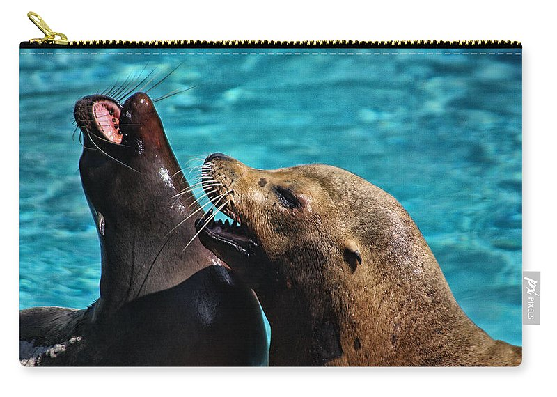 Seals Carry-all Pouch featuring the photograph Laughing Seals by Karol Livote