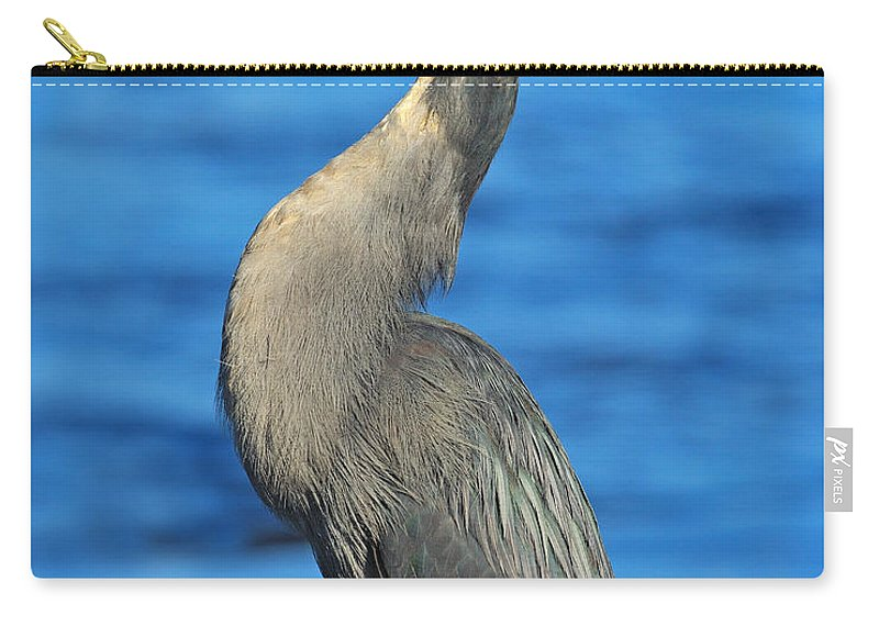 Lava Heron Carry-all Pouch featuring the photograph Lava Heron by Tony Beck
