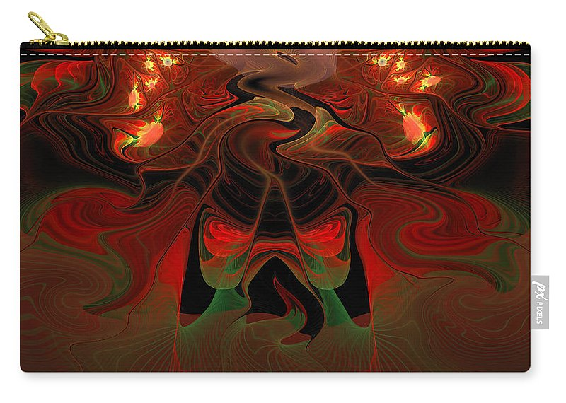Lava Carry-all Pouch featuring the digital art Red Hot Lava by Georgiana Romanovna