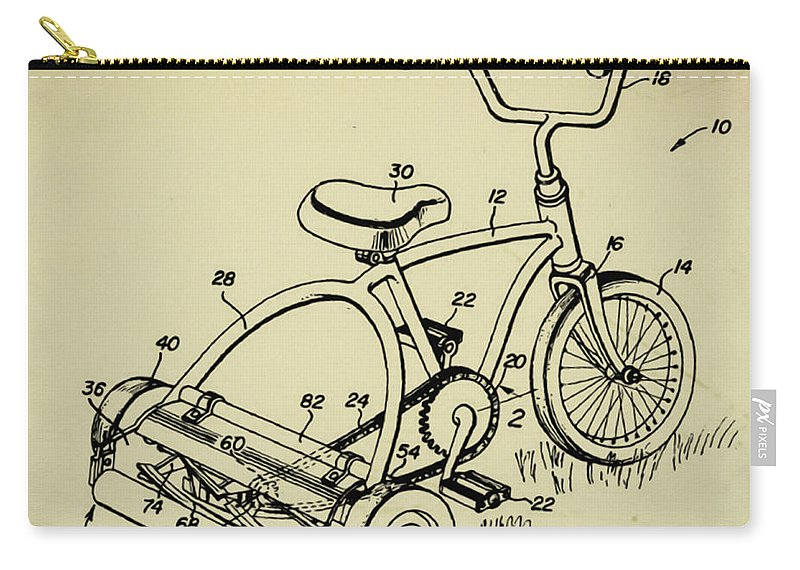 Lawnmower Tricycle Patent Carry-all Pouch featuring the digital art Lawnmower Tricycle Patent by Bill Cannon